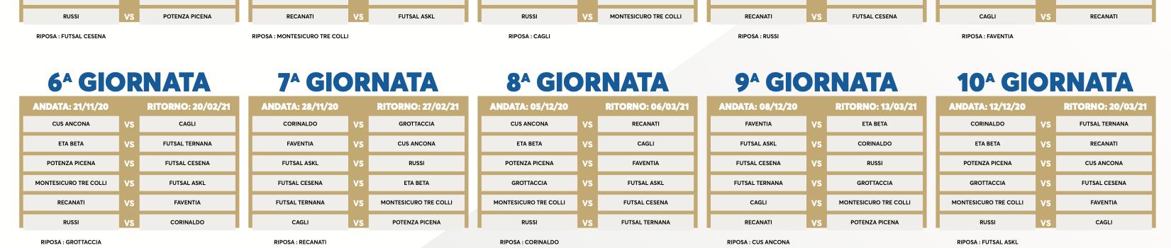 Il calendario della Futsal Cesena